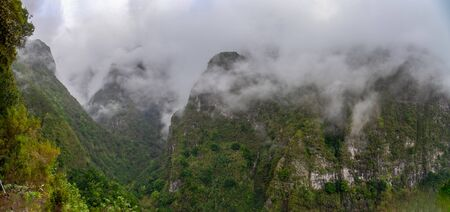 Mountain landscape, view from the hiking path of the Lavado do Caldeirao Verde on the island of Madeira, Portugal.