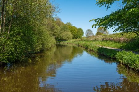 Scenic canal view of the Llangollen Canal near Chirk, Wales,UK