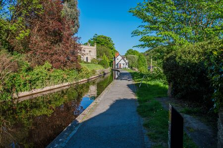 Scenic canal view of the Llangollen Canal near Llangollen, Wales,UK 版權商用圖片