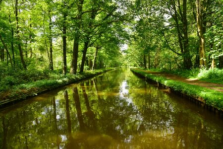 Scenic canal view of the Llangollen Canal near Ellesmere, Wales,UK 版權商用圖片