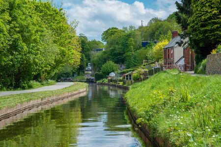 Scenic canal view of the Llangollen Canal near Pontcysyllte, Wales,UK