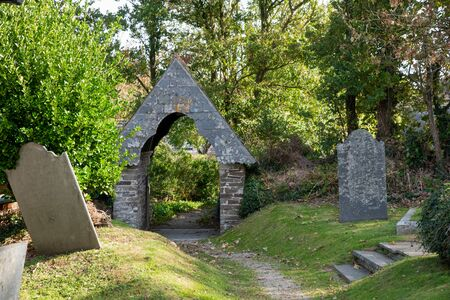 Entrance to the churchyard of the St Michael´s Church in Rock, northern Cornwall, UK