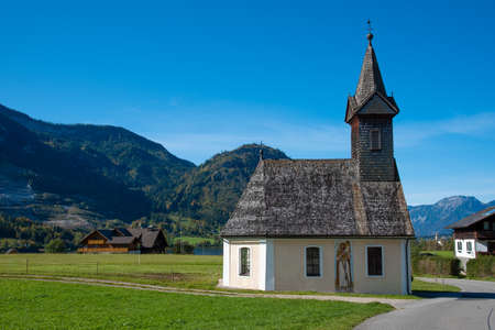 GRUNDLSEE, AUSTRIA - OCTOBER 06 2020: Saint Raphael chapel near the east shore of the Grundlsee in Styria, Austria.