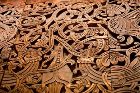 celtic mythology: A norse wooden carving Stock Photo