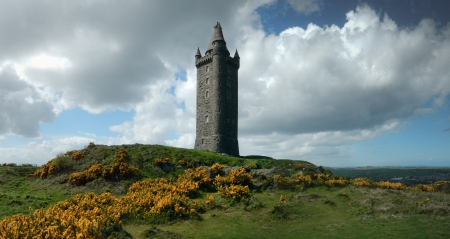 The solitary Scrabo tower on a highland, hilly meadow
