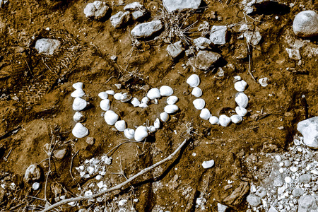 A closeup picture of an  I love you -message written with seashells in the sand of a beach  photo