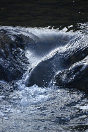 Detail of a flowing clear stream in the summer