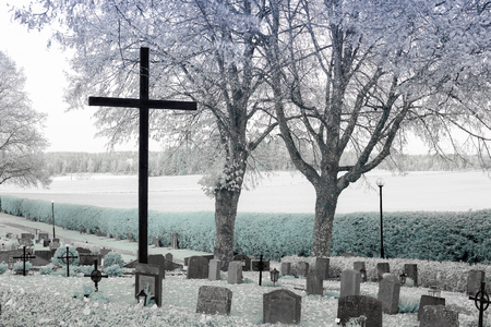 cremated: Cemetery in the fall Stock Photo