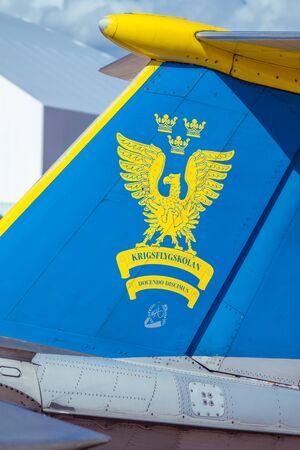 stabilizer: Swedish Air Force trainer plane logo Editorial