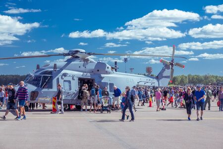 forces: Swedish Armed Forces helicopter on display