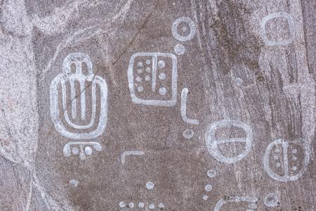 ニュヒェーピング、スウェーデンの近く、約 4000 年に遡るペトログリフ 写真素材