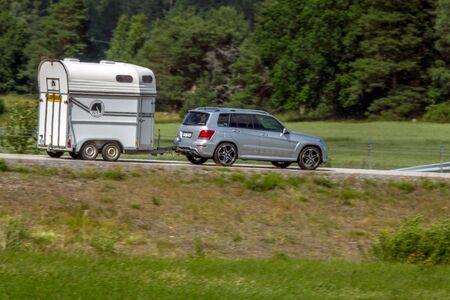 Katrineholm, Sweden - July 4, 2017: Truck on a up country road near Katrineholm