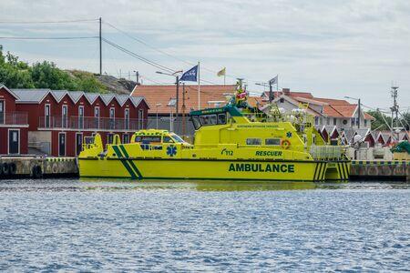 esbjerg: Gothenburg, Sweden - july 24, 2017: Northern Offshore Services large ambulance boat , ambulance van parked on it, docked at port