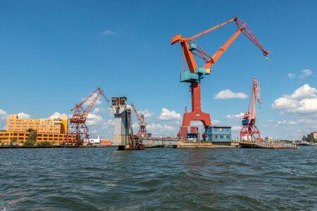 shipbuilding: Gothenburg, Sweden - july 24, 2017: Cranes in Gothenburg harbour Editorial