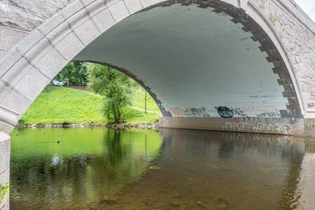 oslo: oslo, Norway - July 21, 2017:Akerselva the river in Oslo