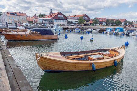 Vastervik, Sweden- July 31, 2017: Wooden boat in Vastervik harbour