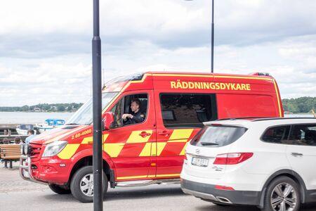 padi: Vastervik, Sweden- July 31, 2017: fire department rescue diver Editorial