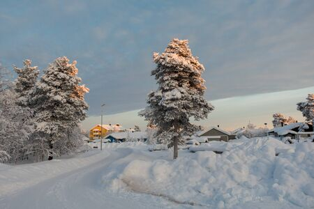 Kiruna, Sweden- February 5, 2018: Suburb in the town Kiruna that is in the far north of Sweden