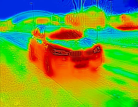 Thermal image of a car with the motor running