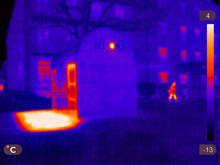 Thermal picture of a small town in winter