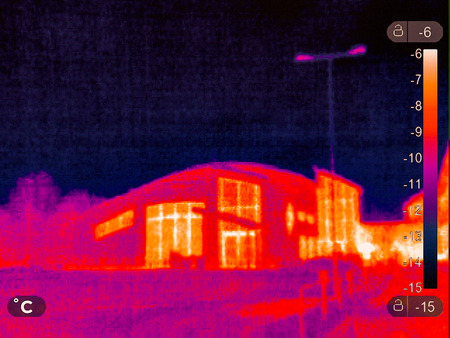 Thermal picture of a small town in winter 版權商用圖片