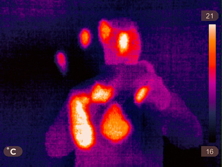 Thermal picture of a small town in winter Stock fotó