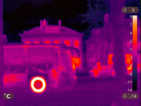 Thermal picture of a small town in winter 写真素材