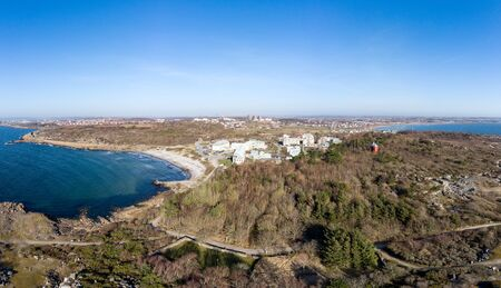 Varberg Kusthotell is a Hotel and spa resort, a former sanatorium a few km south of the town of Varberg seen by the horizon 写真素材
