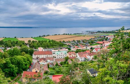 The town of Granna in Sweden from Granna mountain with Lake Vattern and Visings island in the horizon 写真素材