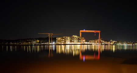 Gothenburg, Sweden- February 23, 2017: Night view of  Hisingen island in view with the Eriksberg gantry crane visible