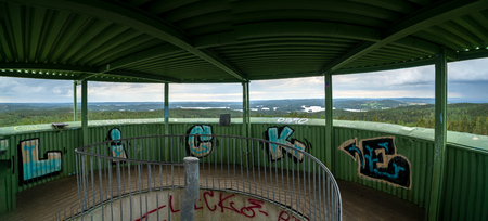 Granna, Sweden- August 15, 2019: Tegnér lookout tower built 1973  the  initiative  for the lookout came from   Torsten Tegnér 1973. Look out top with view and graffiti 報道画像