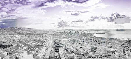 The City of Jonkoping from Huskvarna  lookout in Sweden in infrared an ultraviolet