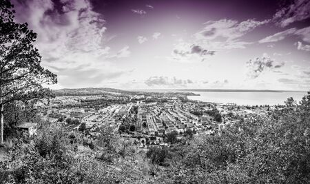 The City of Jonkoping from Huskvarna  lookout in Sweden 写真素材 - 132135851