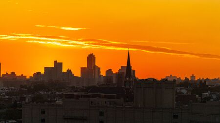 Downtown Brooklyn silhouette at sunrise 写真素材