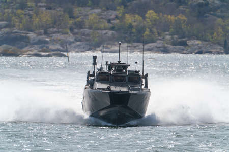 gothenburg, Sweden- April 24: CB90-class fast assault craft in the southern archipelago driving fast.