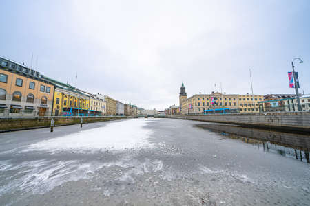 Downtown Gothenburg by the moat in winter Stok Fotoğraf