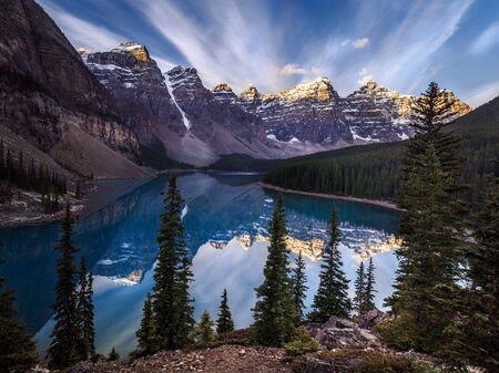 Sunrise at Moraine Lake in Banff National Park, Canada