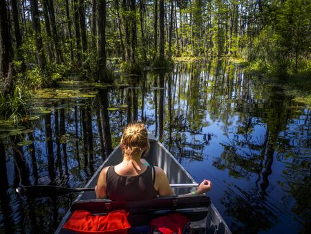 Young woman admiring the beautiful reflections of big trees in the marshland of Florida while riding a canoe