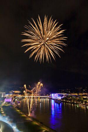 Beautiful fireworks over the danube in Linz, Austria