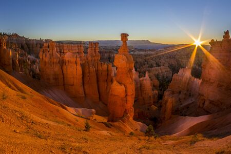 Beautiful sunrise over Thor's Hammer in Bryce Canyon National Park, Utah