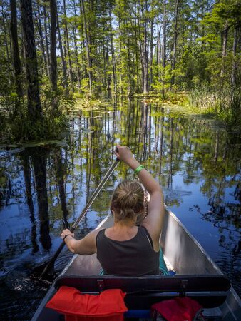 Young woman enjoying the marshland of Florida while riding a canoe
