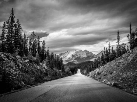Road leading to a big mountain in the canadian rockies 스톡 콘텐츠