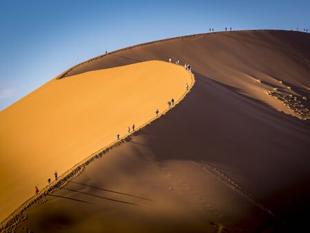 Group of tourists climbing a big dune at sunrise shadows casting in the sand, Namibia - black & white