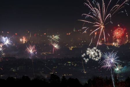 Amazing new-year fireworks over the city center of Vienna, Austria with view of St. Stephen's Cathedral 스톡 콘텐츠