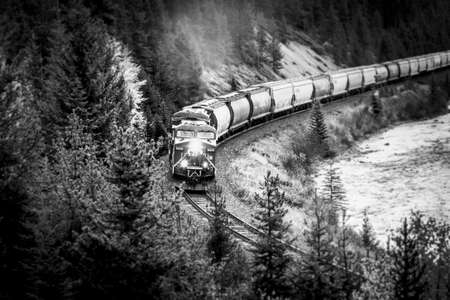 Freight train with many cars driving in the mountains of Canada
