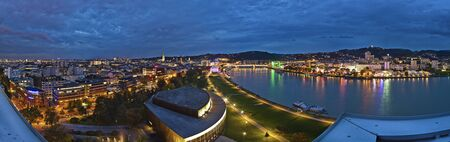 Panoramic view over the city center of Linz, Austria at the blue hour