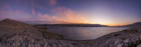 Panoramic view over the bay of Pag, Croatia 스톡 콘텐츠