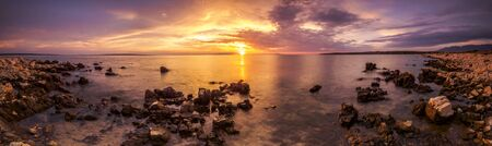 Panoramic view of the beautiful sunset over the island of Pag, Croatia