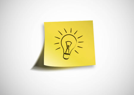 post it: Post it with bulb Illustration