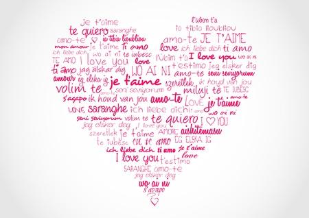 Herz mit I Ove Sie in verschiedenen Sprachen